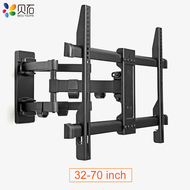 "Full Motion Retractable LCD Bracket TV Wall Mount Tilting Swivel Wall Stand Adjustable Mount Arm Fit for 32 70"" Max Support 50kg"