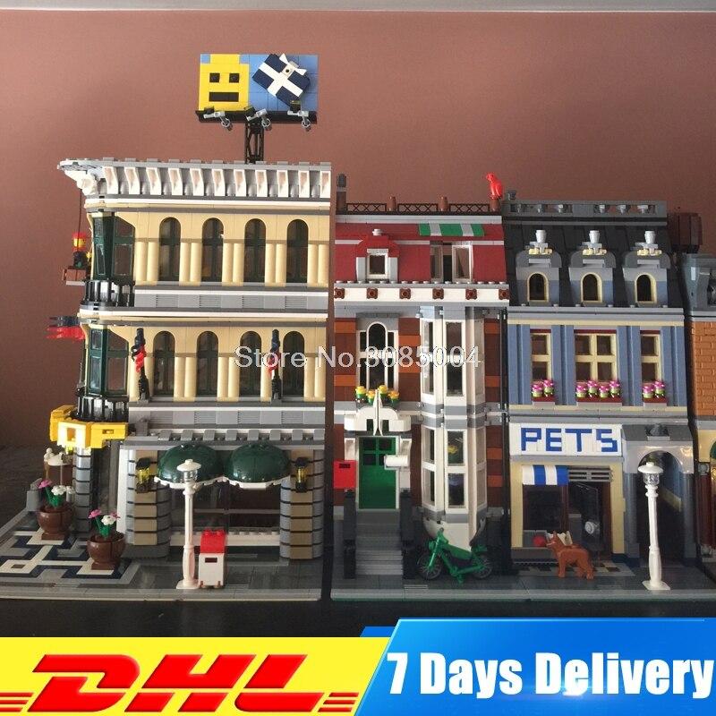 DHL Lepin City Street 15005 Grand Emporium + 15009 Pet Shop Model Building Blocks Bricks Educational Children Toys 10211 10218 stadtstrabe creator pet shop supermarkt modell lepin 15009 2082 stucke baustein kinder spielzeug kompatibel 10218 ziegel