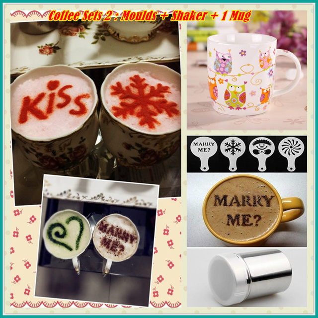 Coffee Stencil Chocolate Shaker Cup Whole Sets Of Art Fancy Tools