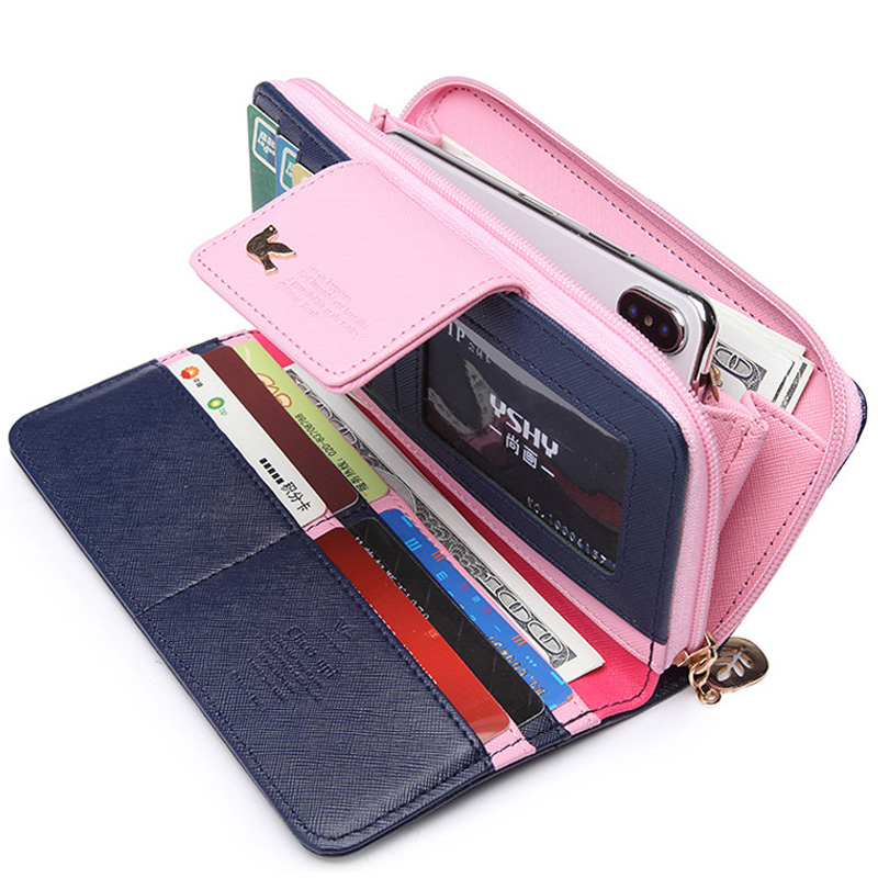 Women Purse Female Wallet Long Zipper Coin Purse Women Cute pu Leather Card Holder Fresh Color Wallet For Teenager girls new brand colors purse plaid leather zipper wallet cards holder wallet for girls women wallet