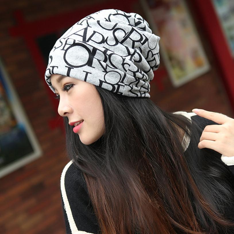 New autumn 3 way to wear beanies winter warm cap bonnet women knitted hat  slouchy Khaki letter Baggy Soft cotton bonnet M026-in Skullies   Beanies  from ... 2ad7ddc2baf