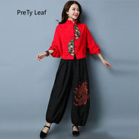 2018 ethnic style cotton and linen short bat sleeve embroidered coat