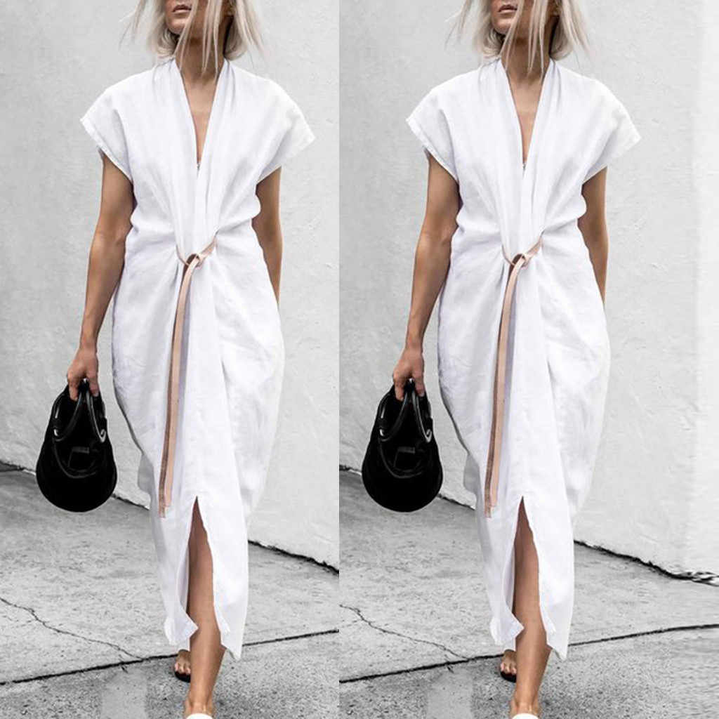 2019 Summer FashionWomen Summer Formal Full Length Short Sleeve V Neck Belted Shirt Dress Solid Color Elegant