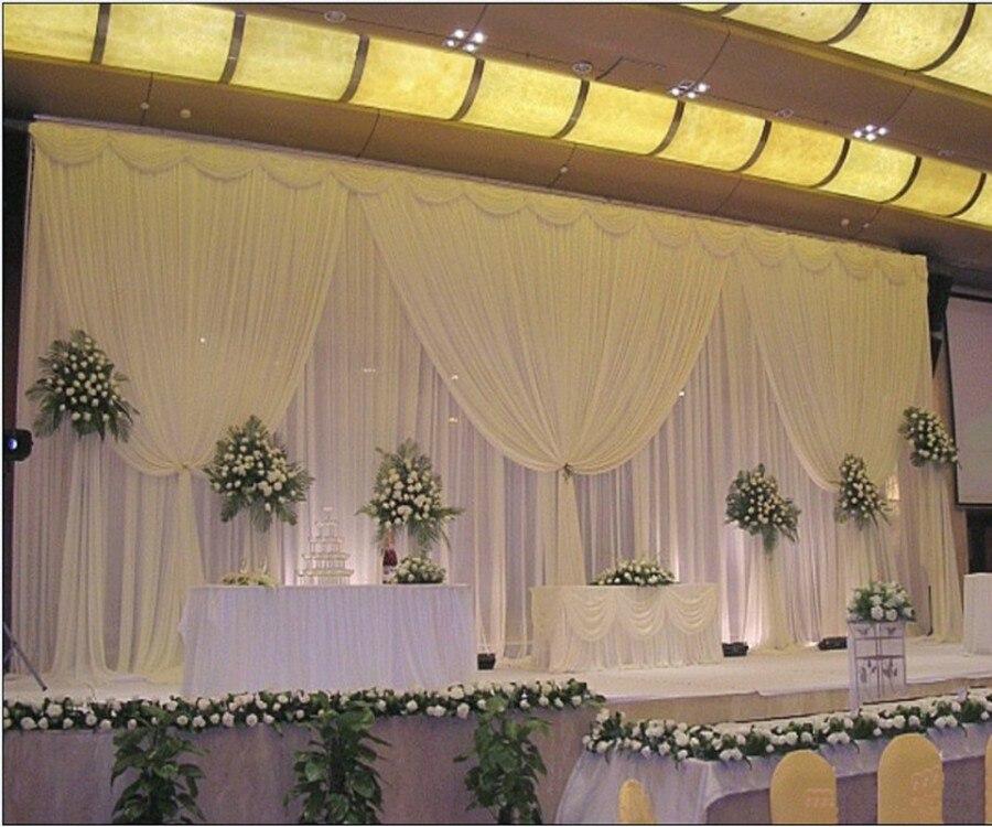 3 m * 6 m Blanc glace soie rideau de toile de fond de mariage avec guirlandes Accessoires De Mariage En Satin Pour Mariage/Anniversaire soirée Décoration Js98