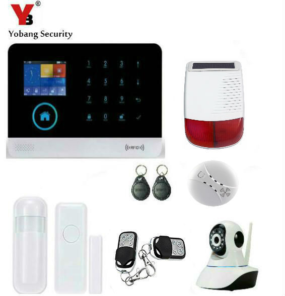 Yobang Security WIFI House 3G Alarm System Solar Siren Alarm Network Camera Smoke Alarm SMS APP Controlled Home Security Alarm yobang security app control anti theft wifi alarm system gsm alarma wireless network camera monitoring outdoor solar siren alarm