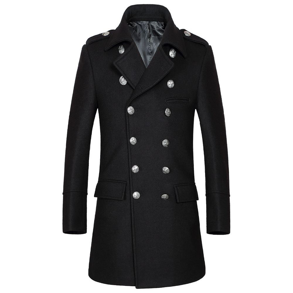 Shanghai Story 2018 hiver décontracté Double boutonnage manteau hommes col montant Slim Fit Long Trench manteau hommes laine pois manteau 2 couleurs - 4