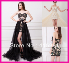 2014 Black Strapless Crystal Lace High Low Girls Party Prom Dress With Detachable Skirt E5207