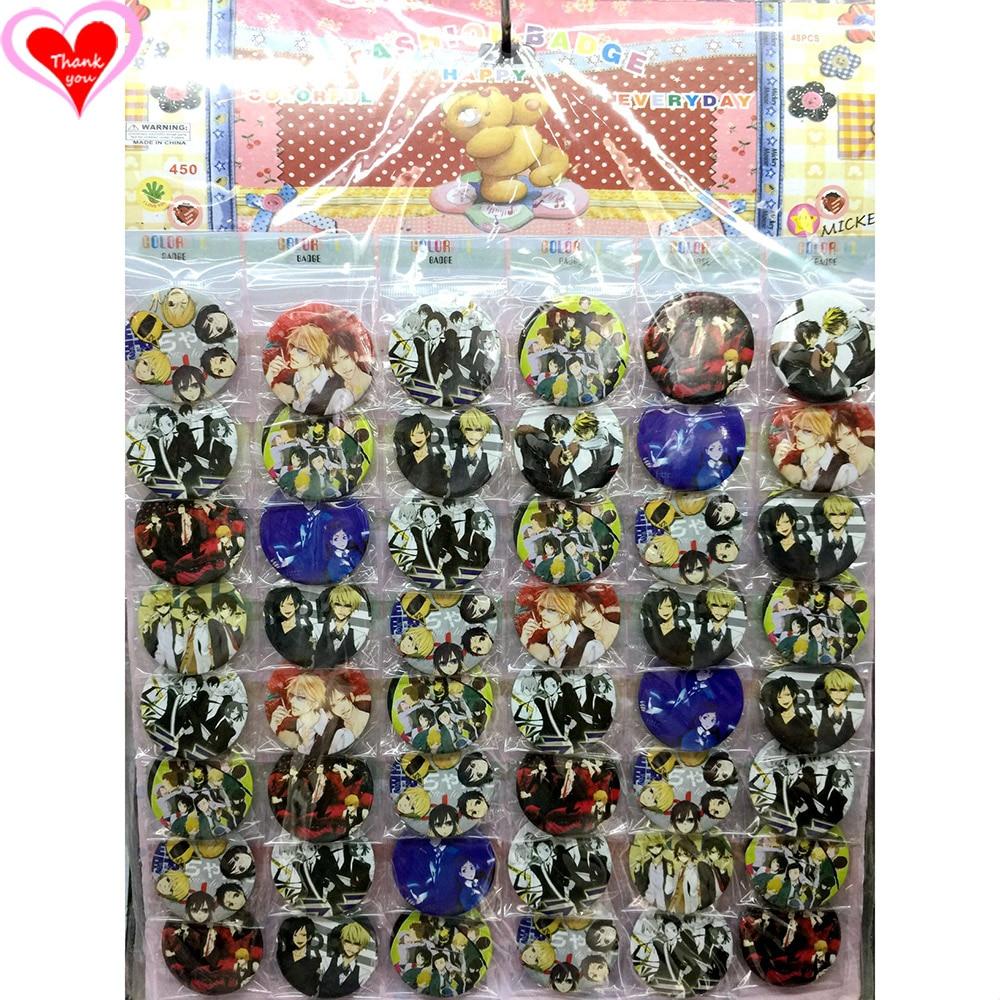 Kärlek Tack Durarara 45MM 16/24/32/40/48/40/48 st. Mycket PIN-BACK BADGE-KNAPP BROSEN FÖR BAGGIFTS TOY CLOTH Cartoon & anime