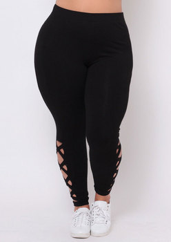 New Plus Size XXL XXXL Solid Women Leggings Winter Sexy Hollow Out Warm Thick Leggings Casual Slim Pants For Women 1