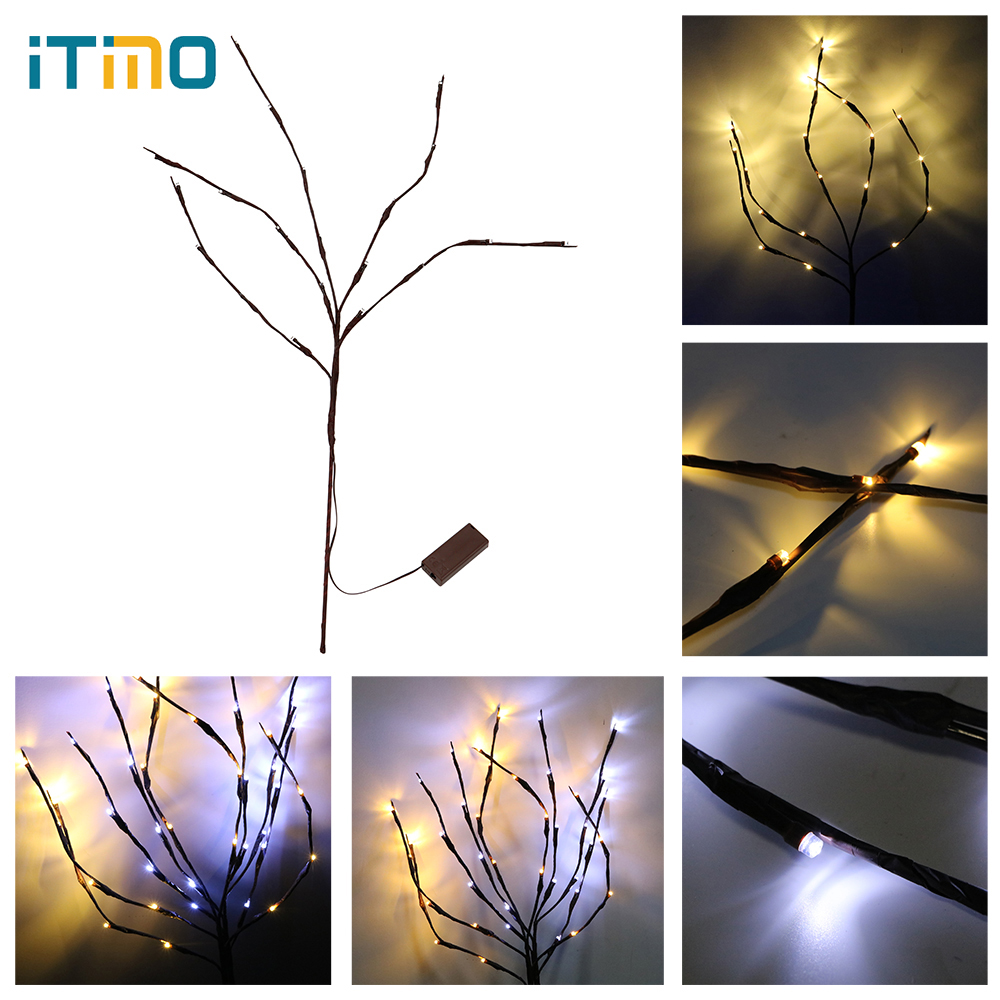 ITimo Party Decor Floral Lights Branch Lamp Portable Bedside Table Computer Flexible For Holiday Desktop Decoration