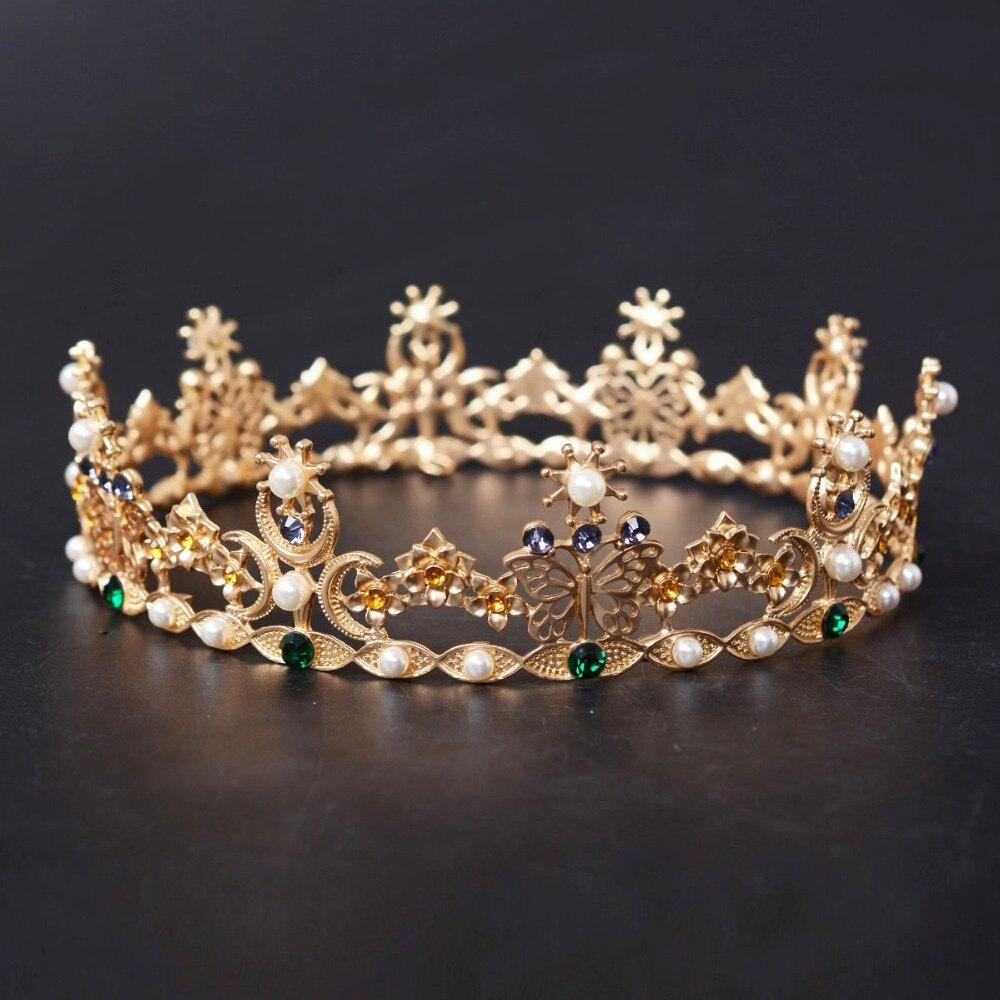 تيجان ملكية  امبراطورية فاخرة Vintage-Golden-Baroque-Full-Round-Colorful-Butterfly-Wedding-font-b-Tiara-b-font-font-b-Crown