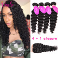 Malaysian Deep Wave With Closure 4 Bundles Light Brown 8A Grade Deep Wave Virgin Hair Malaysian Curly Hair With Lace Closure