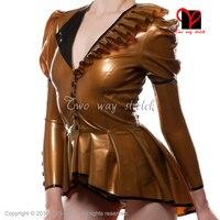 Металлик gloden сексуальный короткий резиновый плащ на пуговицах спереди пышные рукава униформа одежда топ одежда латексный пиджак размер XXXL