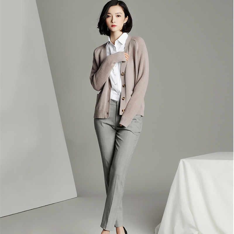 2018 Новый женский свитер кардиган осень весна женское пальто v-образный вырез женский свободный вязаный кардиган однотонный черный серый хаки PQ302