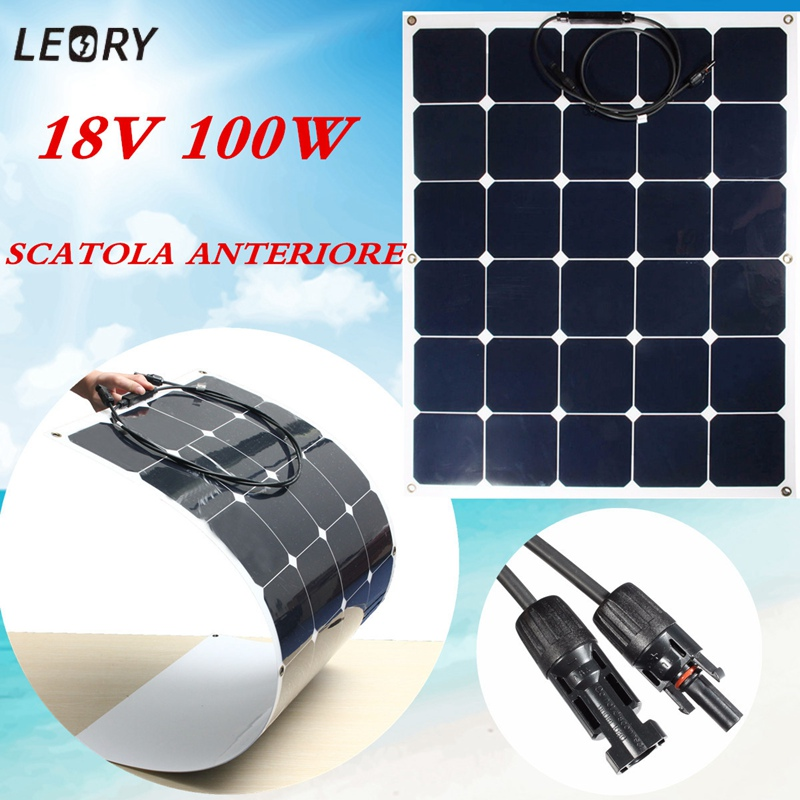 Universal SPW 100W 18V Solar Panel Monocrystalline Semi Flexible Sun Power Chip For RV Boat Home