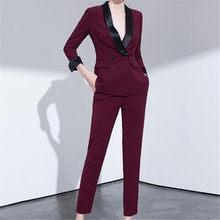 76adfe03792157 Custom mode nieuwe wijn rode elegante temperament dames pak tweedelig pak  (jas + broek) vrouwen zakelijke formele pak