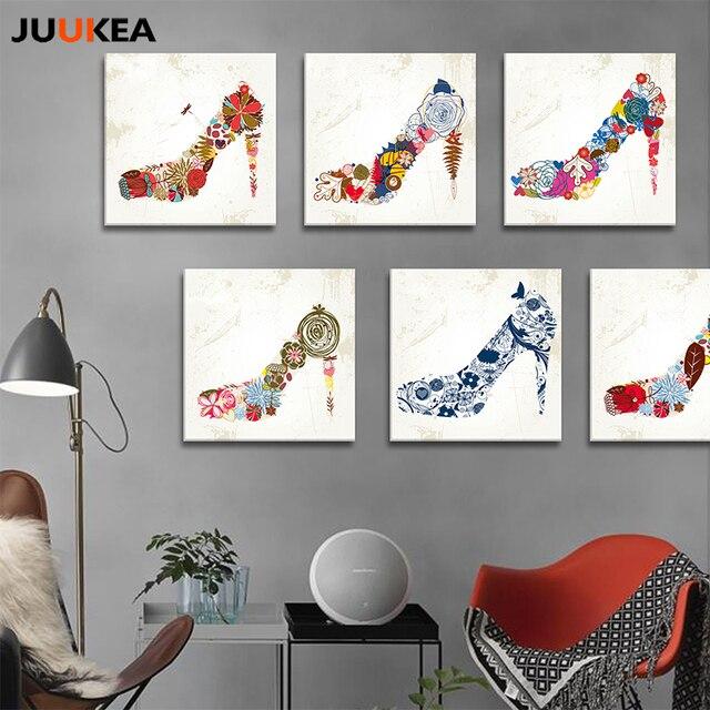 Cuadro Moderne Kreative Mode Frauen Blumen High Heels Leinwand Kunstdruck  Malerei Poster Wand Bild Für Wohnzimmer