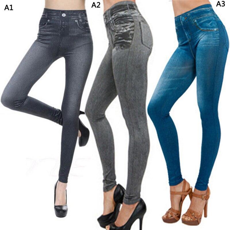 Moda 2019 nuevas mujeres estampadas imitación pies pantalones vaqueros inferior moda Sexy elástico alta cintura Leggings Venta caliente