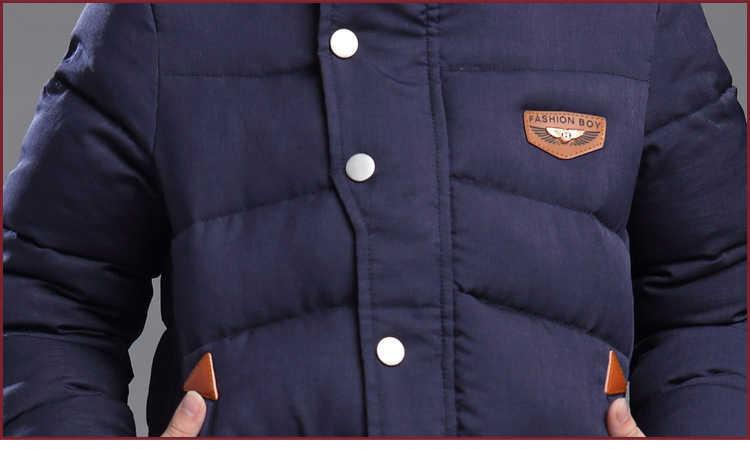 2018 nuevo abrigo de invierno para niños con capucha chaqueta de invierno para chico abrigado de algodón para niños chaqueta de invierno para niños prendas de vestir de 3 a 15 años
