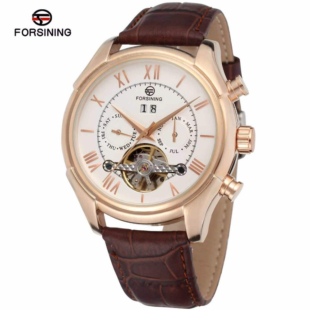 FORSINING Royal Men Mechanical Auto Watch Tourbillon Man Wrist Watch Genuine Leather Strap Working Sub-dials Calendar Date forsining men luxury mechanical watches men s sports tourbillon automatic watch rubber strap auto date week month calendar clock