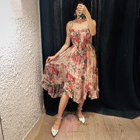 Bohemian vintage beach dress for women summer 2018 elegant floral printed ruffles strapless midi chiffon dress runway dresses