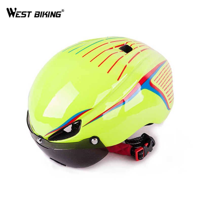 WEST BIKING Integrally EPS Cycling Helmet with Goggles Aerodynamic Ultra-Light Mountain Bike Helmet Lens MTB Bike Bicycle Helmet