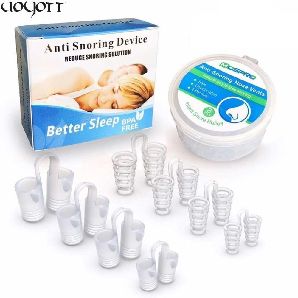 8Pcs/Box Anti Snore Apnea Nose Clip Anti-Snoring Breathe Aid Stop Snore Device Sleeping Aid Equipment Stop Snoring(China)
