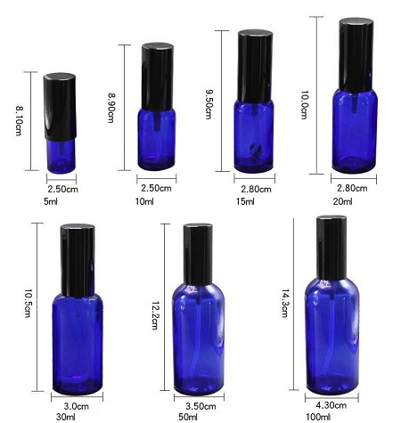 5ml 10ml 30ml 100ml High Quality Blue Bottle Cosmetic Containers Bottle Glass Cream Empty Bottle Spray Sample Lotion Pump Jar (12)
