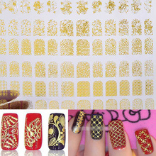 цена на Nail Stickers Decals,108pcs/sheet New 3D Gold Metallic Butterfly Flower Designs Adhesive Nail Tips Decoration,Nail Art Tools
