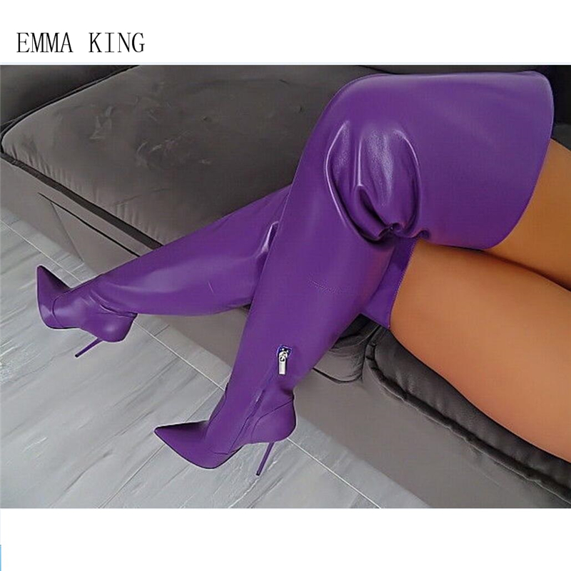 Cuisse À Nouveau Mode Femmes Sur Haute Picture Dames Bout Le Sexy Femme Zipper Bottes Talons Violet La Extensible Hauts Genou Pointu As Chaussures f0fxSq