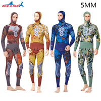 New Wetsuit Men 5MM Neoprene Camouflage Professional Warm Hooded Swimsuit Spearfishing Swimming Snorkeling Surfing Diving Suits