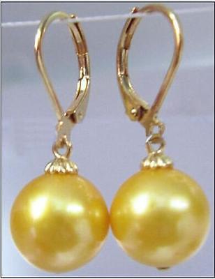 hot AAA 10-11mm natural Australian south sea yellow pearl earrings hot AAA 10-11mm natural Australian south sea yellow pearl earrings