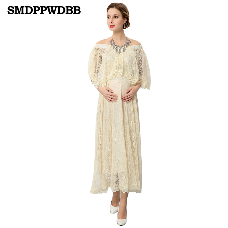 SMDPPWDBB Lace Dress Pregnant Dress Summer Loose Maternity Clothes For Pregnant Women Pregnancy Long Maternity Photography Props maternity photography props clothes for pregnant women dress pregnancy clothes photography white long maternity dress