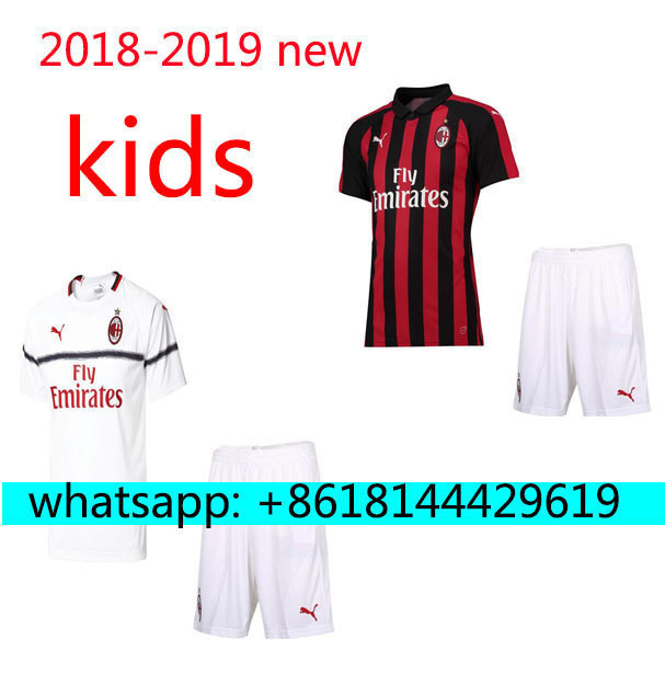 ef4a379ea7e 2019 HOT SALES 2018 BEST QUALITY KIDS KIT AC MILANES SOCCER JERSEY + SOCKS  18 19 HOME RED AWAY GRAY MEN SHIRT FREE SHIPPING