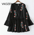 2017 Fashion Floral Embroidery Ruffles Women Vestidos Flare Sleeve O Neck Black Dresses Casual Vintage Mini Dress Ropa Mujer