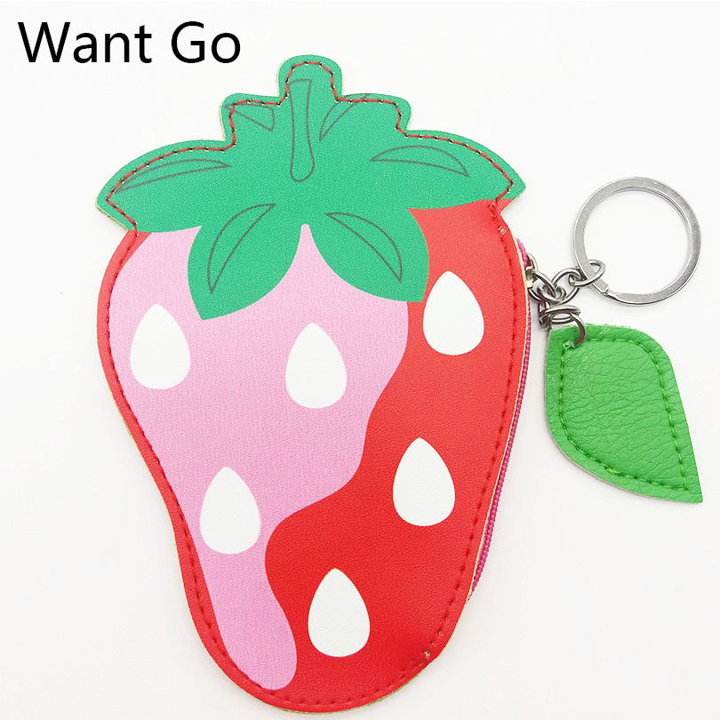 Want Go Cute Fruit Strawberry Coin Purse Kawaii Children Coin Bag Portable Girls Mini Wallets Small Pouch Purse Zipper Key Bags