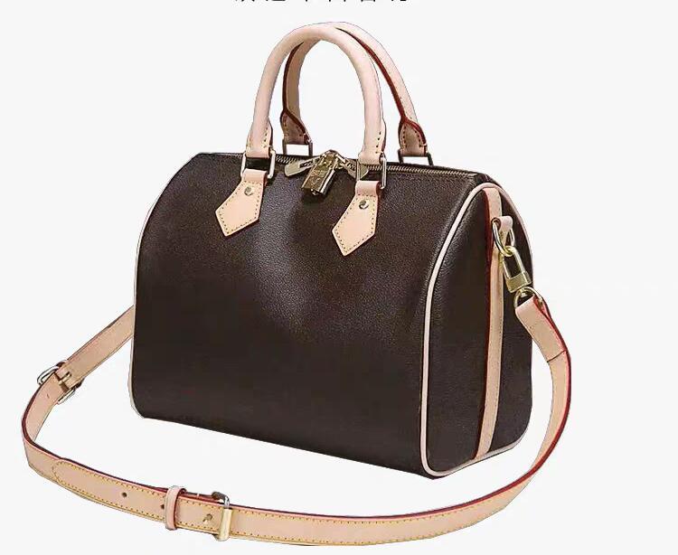Europe and America New Fashion High Quality Women 25/30/35cm speedy Handbag Pillow Bag Brown flowers Bag With Lock Key