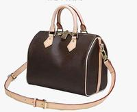 Europe and America New Fashion High Quality Women 25/30/35cm speedy Handbag Pillow Bag Brown flowers Bag With Lock Key