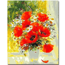 WEEN DIY Paint by numbers with frame,Wall art pictures,Living room decoration,Rose flower oil paint kit 40X50CM
