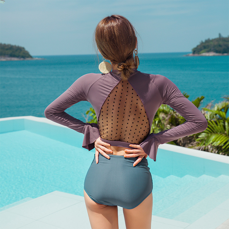 Swimsuit For Teenagers Womens Bathing Suits 2019 Indoor Sports Trikinis Women Long Sleeve High Waist Patchwork Polyester Sierra