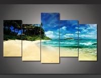 Artistic originality Indoor Art Abstract Indoor Decor W13 Tropical Beach canvas print in 5 pieces