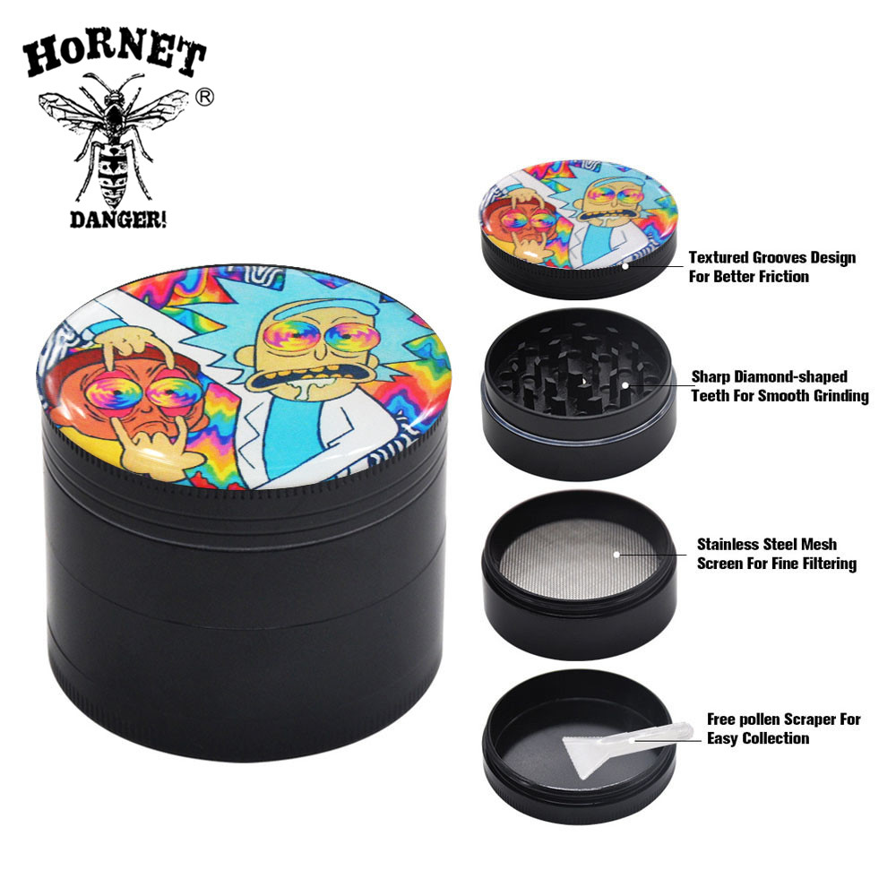 HORNET Domed Sticker Rick&Morty Smoking Grinder Zinc Alloy Metal Herb Grinder 50MM 4 Layers Tobacco Grinder Hand Muller Crusher-in Tobacco Pipes & Accessories from Home & Garden
