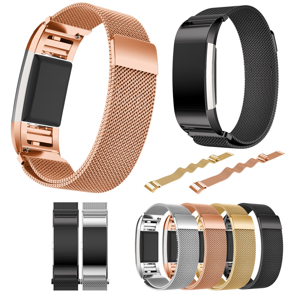 magnetic milanese loop bands rose gold metal for fitbit charge 2 bands bracelet accessories