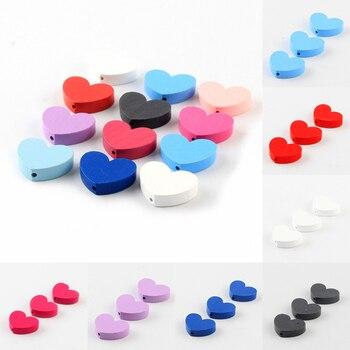 10 unids/lote de cuentas de madera de Color Natural con forma de corazón de 30x23x10mm para fabricación de joyería DIY chupete Clip al por mayor