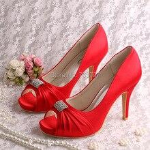 Wedopus Квадратных Ног Женщины Брендовая Обувь Свадебные Насосы Красный Атласная Дропшип