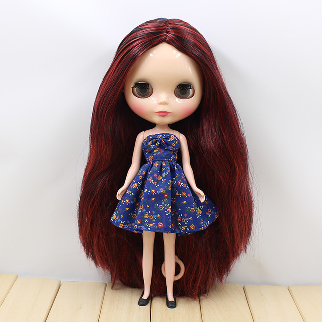 Free shipping factory Blyth Doll Nude Doll Red Brown Curly