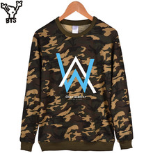 BTS Popular Electronic Music Camouflage Capless Hoodies Men Hip Hop Winter Fashion Sweatshirt Men Hoodie Alan Walker Clothes