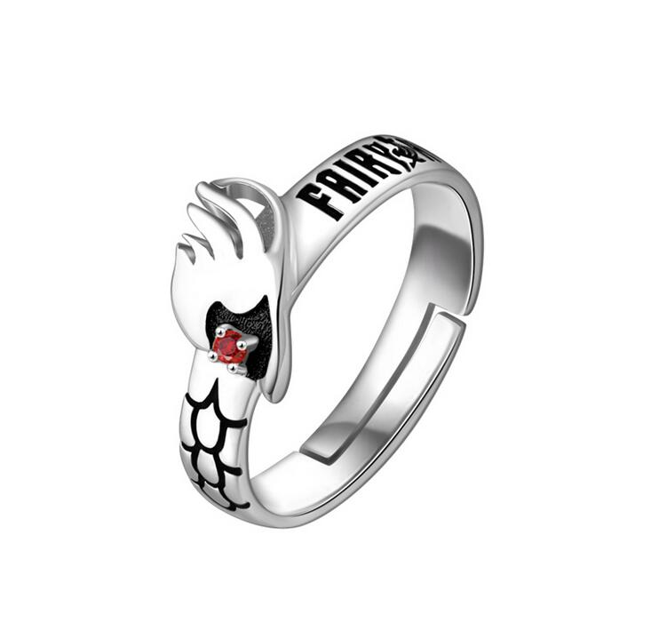 S925 Silver FAIRY TAIL Natsu Dragneel Ring Cos Prop Daily