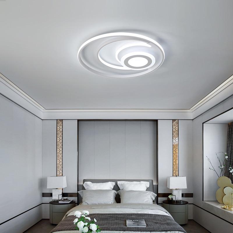 white modern Led Chandelier lighting for bedroom living room dining room acrylic lustre luminaria lampadario Ceiling Chandelier