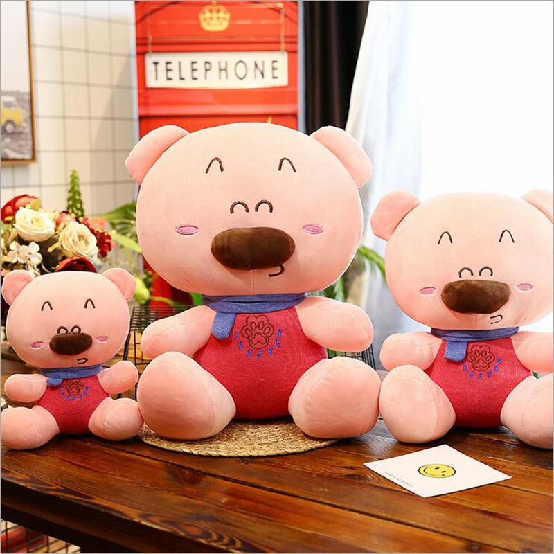 New Style Smile Bear With Scarf Plush Toy Feather Cotton Soft Plush Doll Children Gift in Stuffed Plush Animals from Toys Hobbies